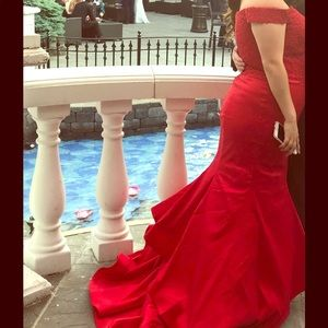 Faviana over the shoulder Red Prom Dress